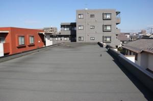 さいたま市北区、テラスハウス、屋上防水工事、平場トップコート