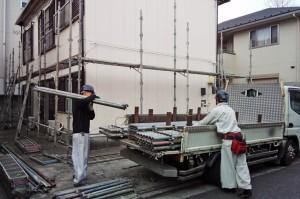 足場解体-さいたま市、アパート(屋根塗装、外壁塗装他)