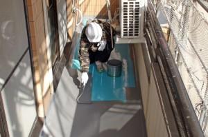 防水トップコート塗装-さいたま市、マンション大規模修繕工事