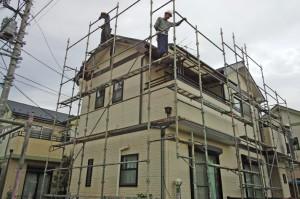 塗装工事の足場設置-さいたま市見沼区F様邸