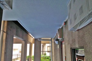 軒天塗装他-塗装・大規模修繕工事-さいたま市北区、Fマンション