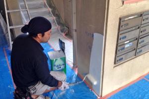 外壁塗装開始-さいたま市北区、Fマンション大規模修繕工事