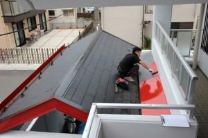 エントランス屋根塗装、鉄部塗装-さいたま市北区、Fマンション