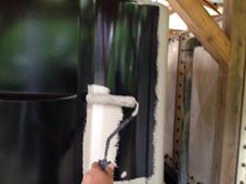 貯水槽の遮光塗装で中塗-さいたま市大宮区、Sホテル