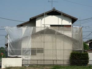 外壁塗装の足場設置と高圧洗浄-伊奈町、F様邸