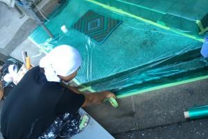 さいたま市南区のY様邸で外壁塗装のための養生