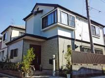さいたま市桜区で屋根塗装(遮熱)と外壁塗装(2階外壁塗潰し、1階外壁クリア塗装)の施工例