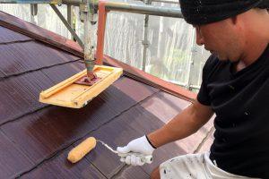 さいたま市西区、K様邸で屋根塗装、外壁塗装のための養生