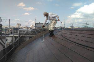 さいたま市北区E様邸の屋上防水、外壁塗装に伴う高圧洗浄