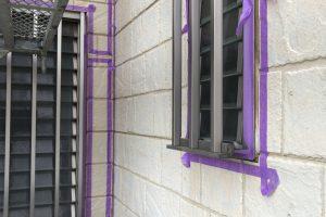 さいたま市見沼区、K様邸で外壁塗装のためのシーリング養生