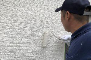 さいたま市見沼区、K様邸の外壁塗装は上塗完了