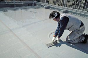 さいたま市北区E様邸で屋上防水のウレタン層形成完了