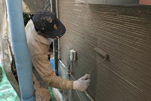 さいたま市北区のK様邸の外壁塗装は上塗が途中