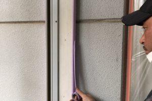 さいたま市緑区、N様邸で外壁塗装の養生が2日目