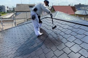 さいたま市北区、I様邸で屋根補修と屋根塗装、軒天塗装