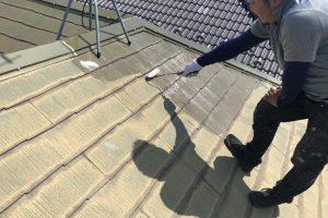さいたま市北区、Y様邸で屋根塗装と外壁塗装用の養生