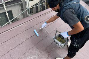 さいたま市見沼区、Y様邸で屋根や付帯部分の上塗が完了